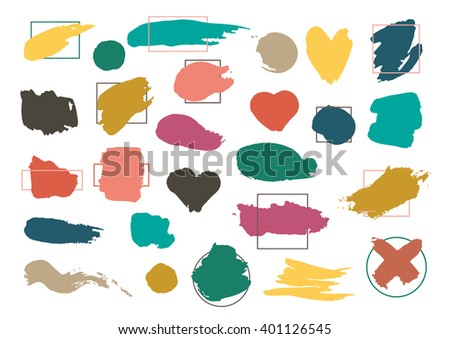 Colorful Brush Strokes with Borders Isolated On White Background.