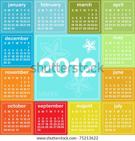 2012 colorful calendar, weeks start on Sunday - stock photo