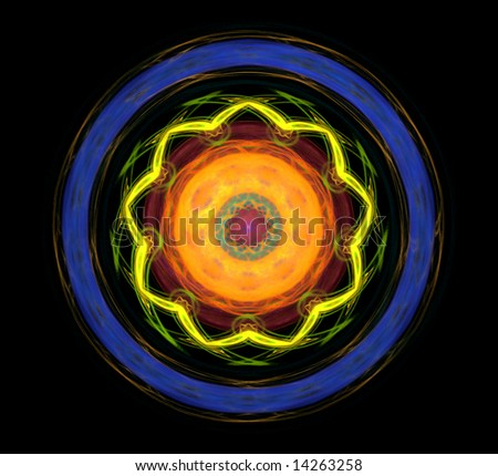 Colorful 3D rendered abstract fractal isolated on black background. - stock photo