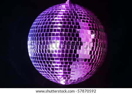colorful Disco ball over a black background - stock photo