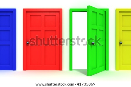 4 colorful doors