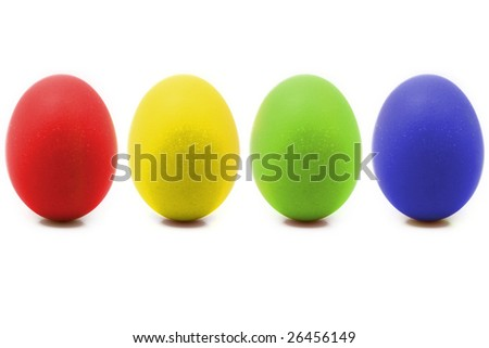 4 colorful easter eggs on row isolated on white