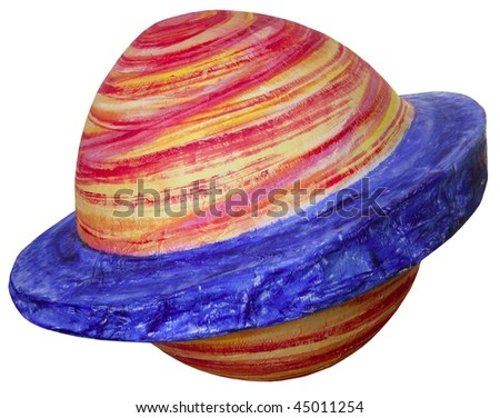 Colorful fantasy space handmade planet isolated on white - stock photo