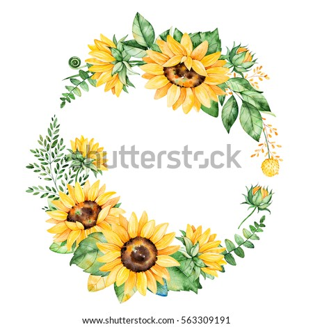 Colorful Floral Wreath With Sunflowersleavesfoliagebranchesfern Leaves And
