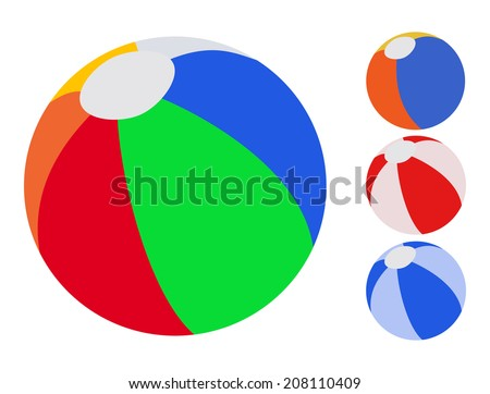 4 colorful inflatable ball on white background