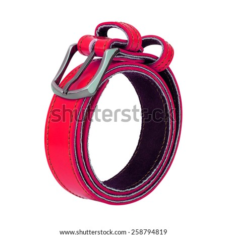 colorful leather belt isolated on white background - stock photo