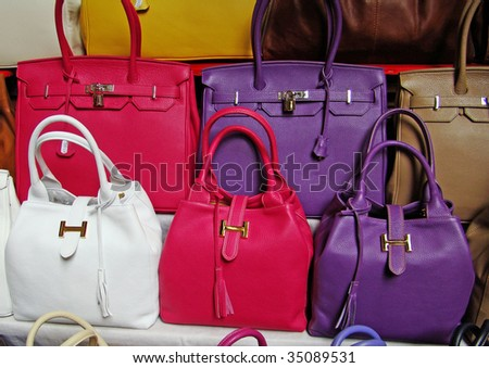 colorful leather handbags in italian boutique - stock photo