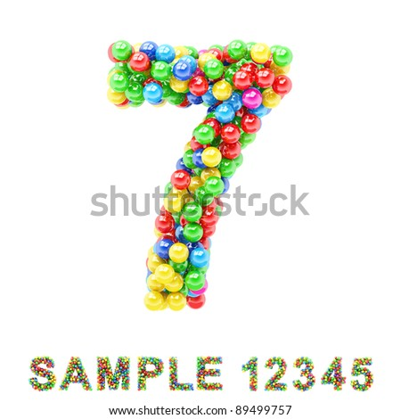 7: Colorful letters and numbers on white background