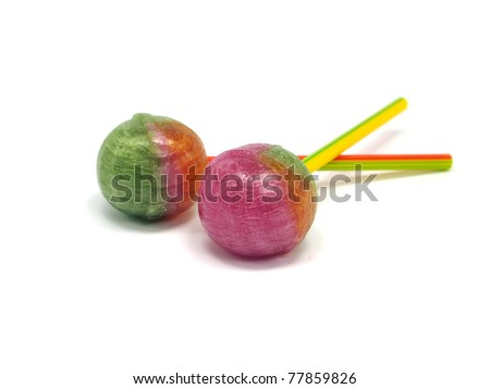 colorful lollypops on a white background - stock photo