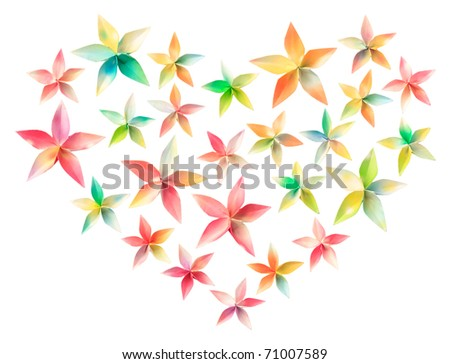 25 colorful paper flowers arranged in a heart shape, isolated on a white background - stock photo
