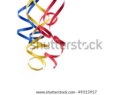 colorful paper streamer isolated on white background - stock photo