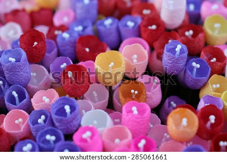 colorful paper tulip, flower - stock photo