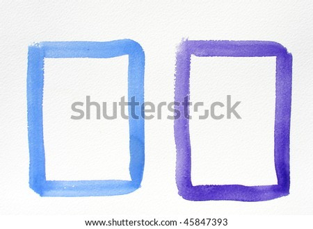 colorful squares watercolor background frames - stock photo