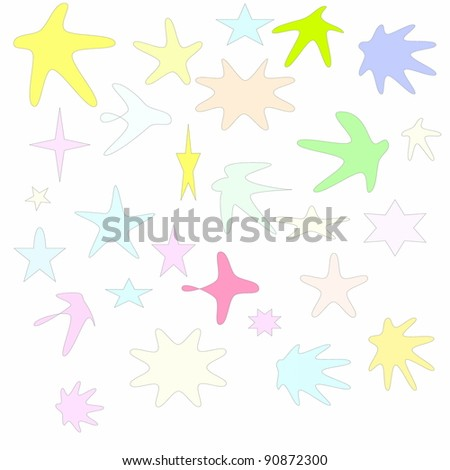 colorful stars isolated on white background,