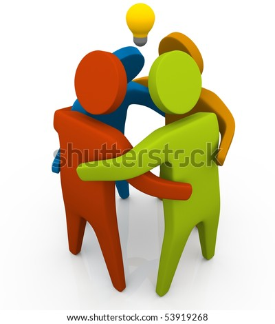 4 colorful stick figure standing closely for discussion, lightbulb over their head. - stock photo