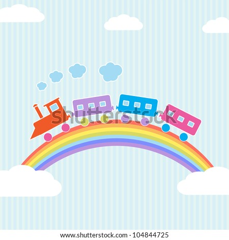 Colorful train on rainbow. Raster version