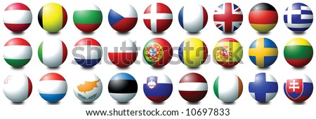 27 coloured balls representing the 27 nations of the European Union - stock photo