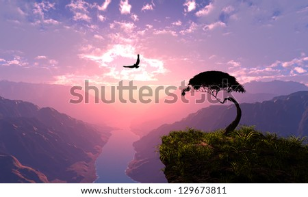 Colourful landscape on a background   of the sky - stock photo