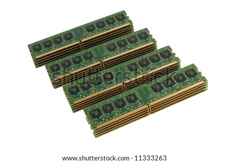 4 column of computer memory modules DDR2, isolated