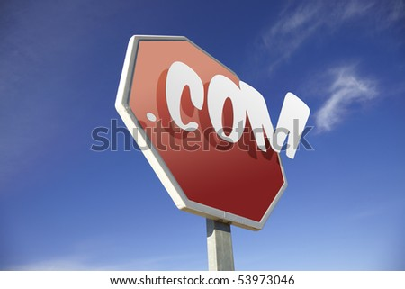 .Com road sign - stock photo