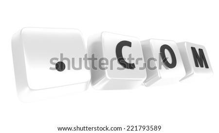 .COM written in black on white computer keys. 3d illustration. Isolated background. - stock photo