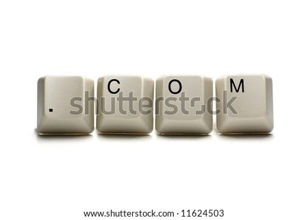 .com written with computer keys, isolated on white - stock photo