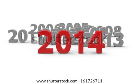 2014 come represents the new year 2014, three-dimensional rendering - stock photo