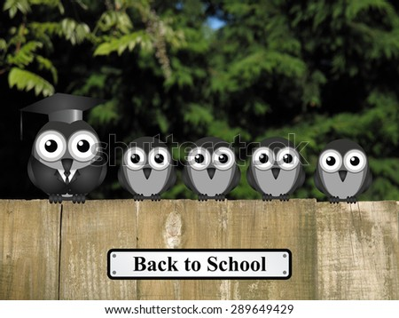 Comical teacher and student birds perched on a timber garden fence with back to school sign against a foliage background - stock photo