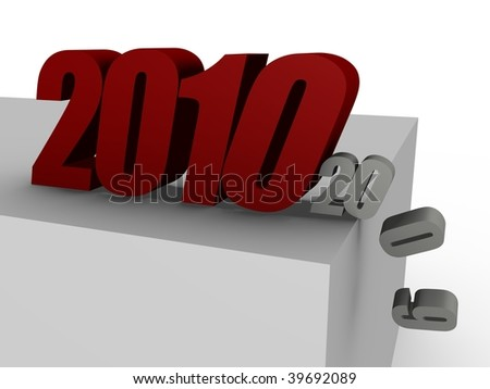2010 coming, pushing 2009 over the edge - 3D image - stock photo