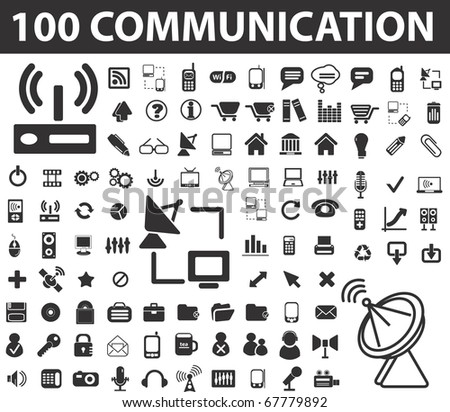 100 communication signs. raster version - stock photo
