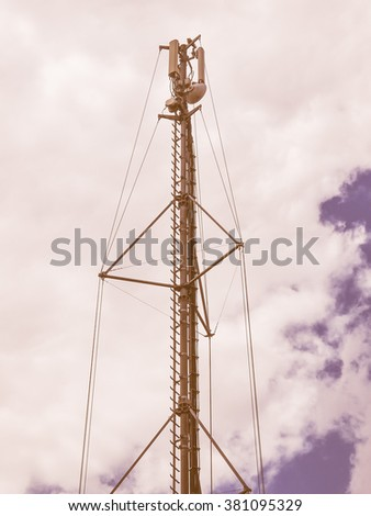 Communication tower radio mast with antenna aerial vintage