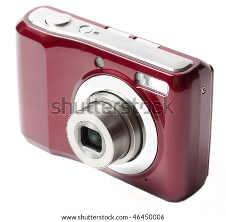 compact camera, front view with extended zoom, isolated on white