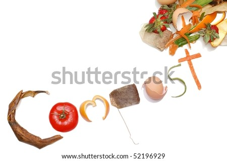 """Compost"" Message written in Kitchen Scraps on an angle - stock photo"