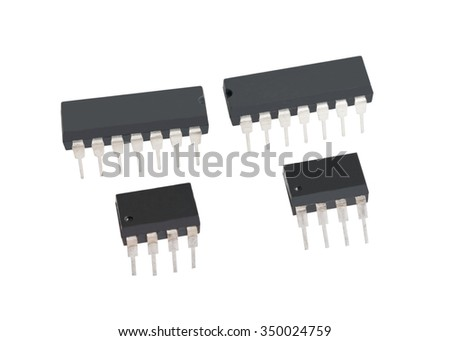 computer electronic chips isolated on white background - stock photo