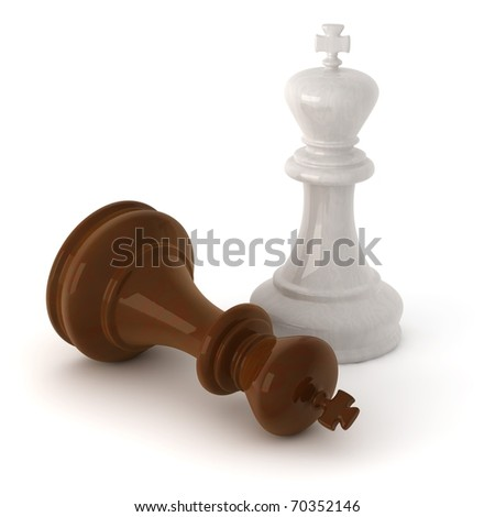 computer generated image of a  wooden chess king pieces isolated on white background with clipping path - stock photo