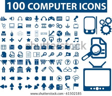 100 computer icons. raster version
