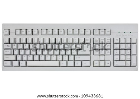 computer keyboard isolated on a white background - stock photo