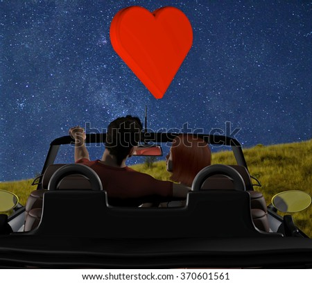 computer rendered illustration of a young couple in love parked under the stars in a convertible
