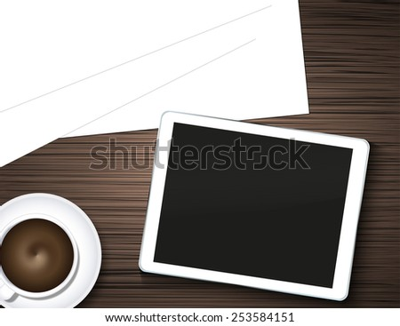 computer tablet, coffee and blank page on wooden table - stock photo