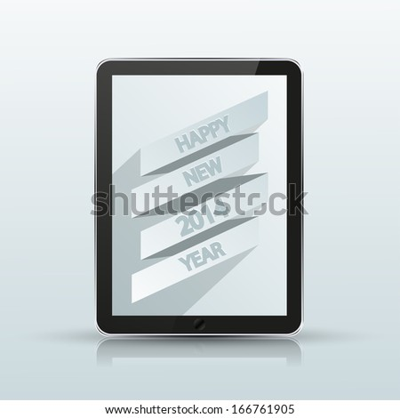computer tablet with 2014 new year poster on blue background. - stock photo
