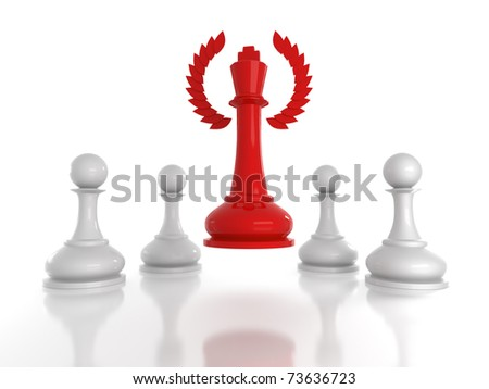 Concept: honored leadership; Red chess king with wreath rising over four white pawns.