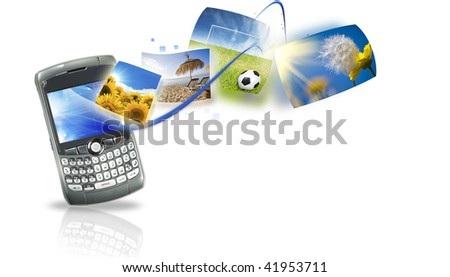 Concept of internet and Multimedia Services - stock photo