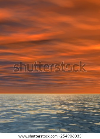 Concept or conceptual of a beautiful seascape with water and waves and a sky with clouds at sunset  as a metaphor for nature, romantic, dramatic, light, evening, morning, peace, atmosphere or weather - stock photo
