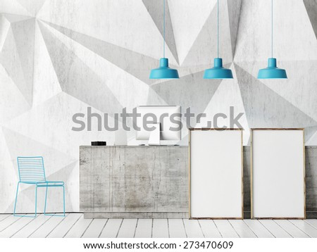 concept reception with mock up poster, 3d illustration - stock photo