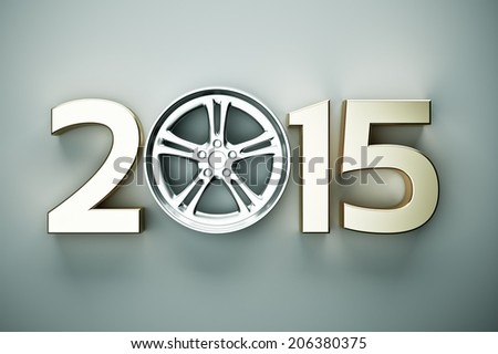 2015 concept with car wheel - stock photo