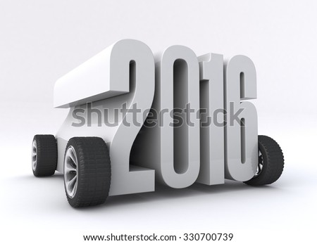 2016 concept with car wheels on a white background - stock photo