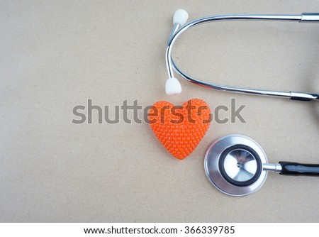 concept with stethoscope and heart shape  - stock photo