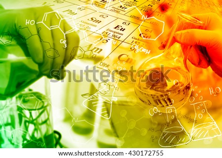 Concepts in Chemistry, researcher working in a laboratory. - stock photo