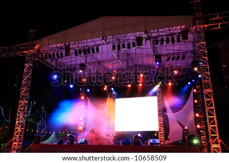 concert   stage   with  beautiful  and   colorful   lighting - stock photo
