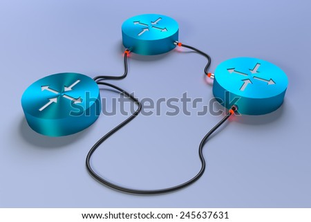 3 connected routers with all links down - stock photo